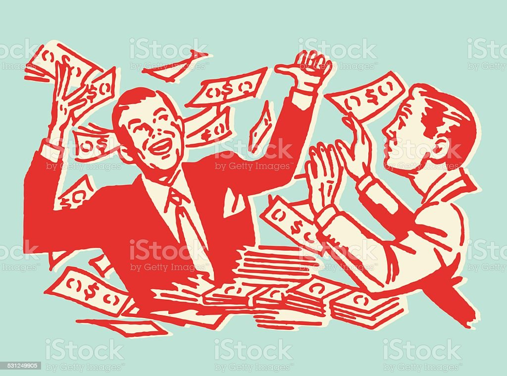 One Man Celebrating with Money vector art illustration