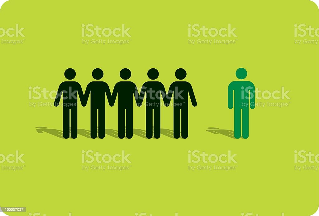 One man standing out from a crowd vector art illustration