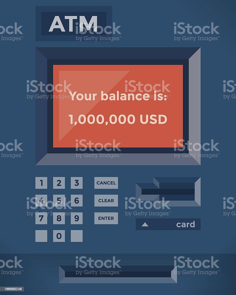 One million dollars balance on the ATM vector art illustration