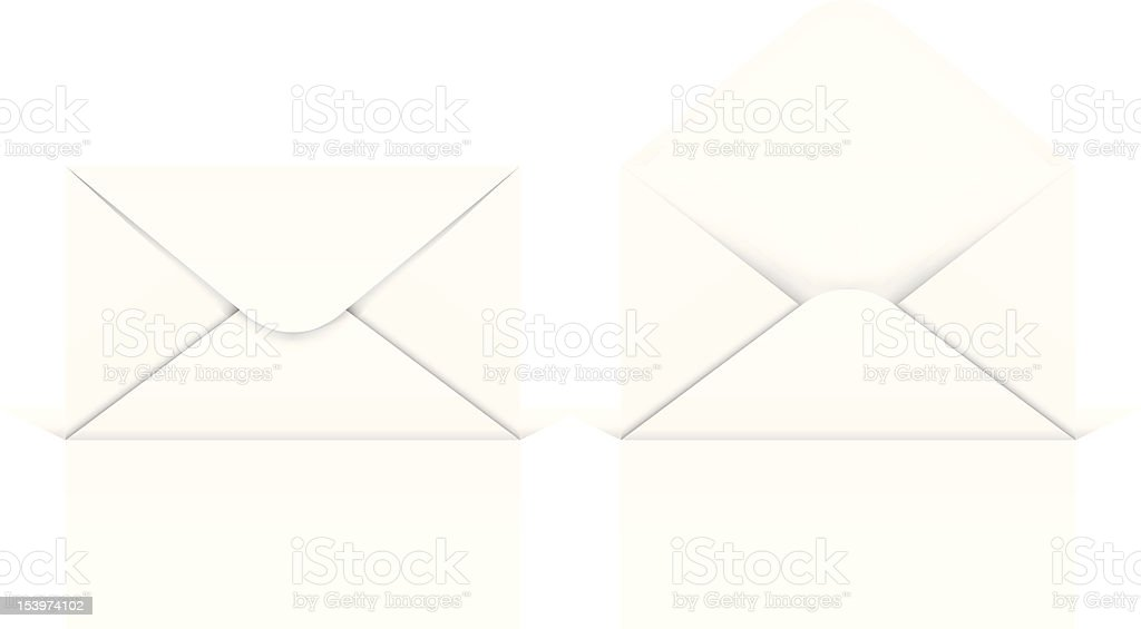 One open and one closed envelope over a white background royalty-free stock vector art