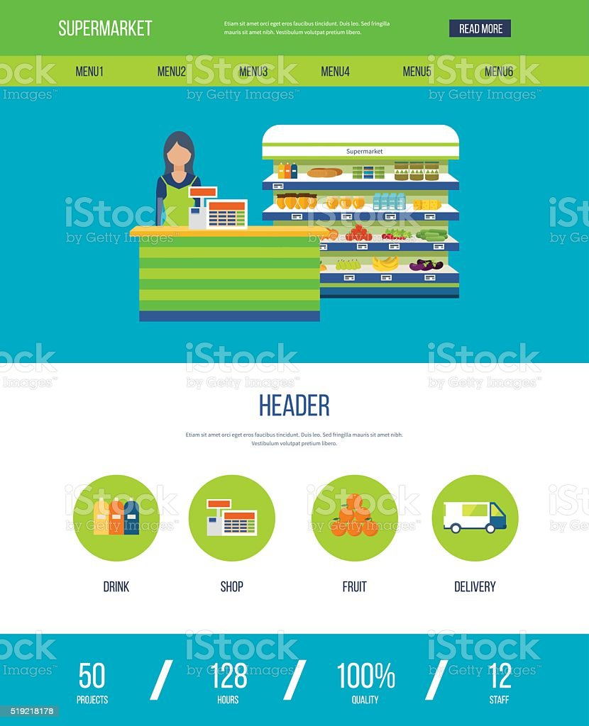 One page web design template with icons of supermarket shop. vector art illustration