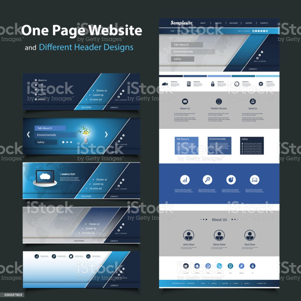 One Page Website Design Template and Different Headers vector art illustration