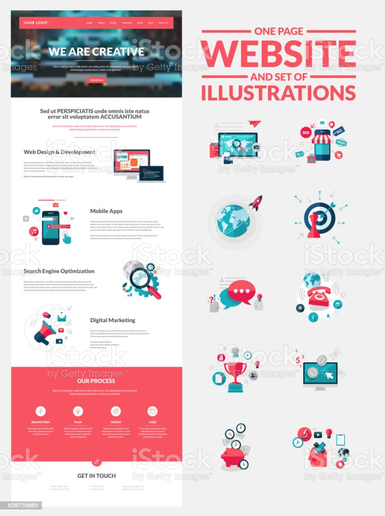 One page website design template vector art illustration