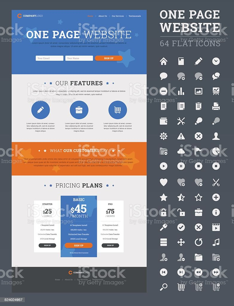 One page website design template with set of flat icons. vector art illustration