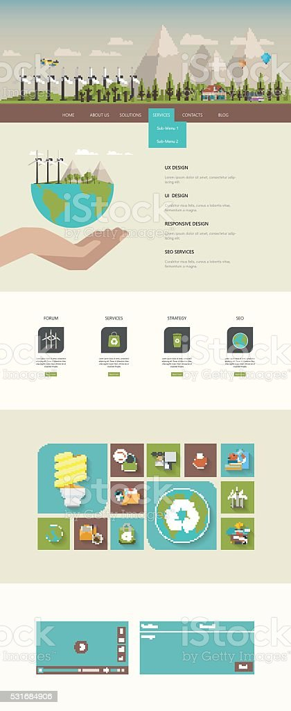 One Page Website Template Design vector art illustration