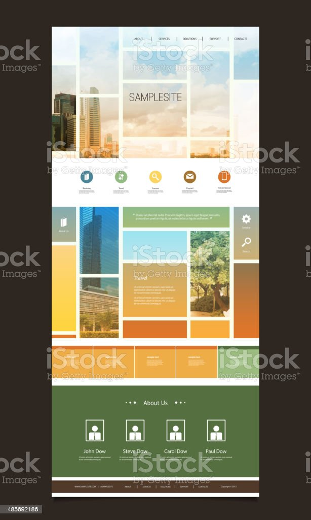 One Page Website Template, Different Header Designs vector art illustration