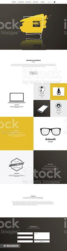 One page website template. Smartphone compatible web design. vector art illustration