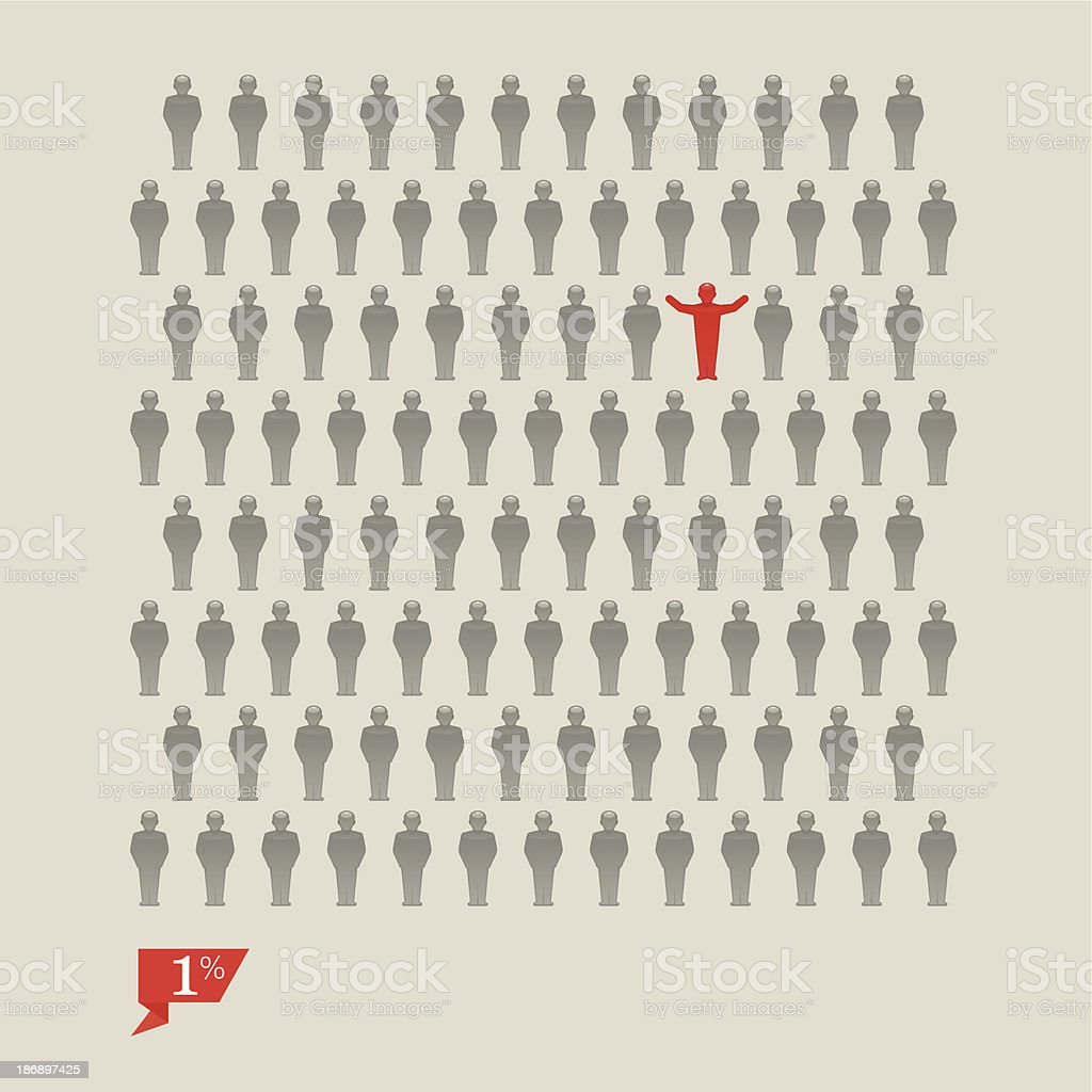 One percent of people vector art illustration