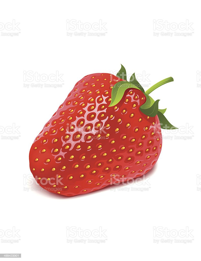 One red strawberry on a white background vector art illustration