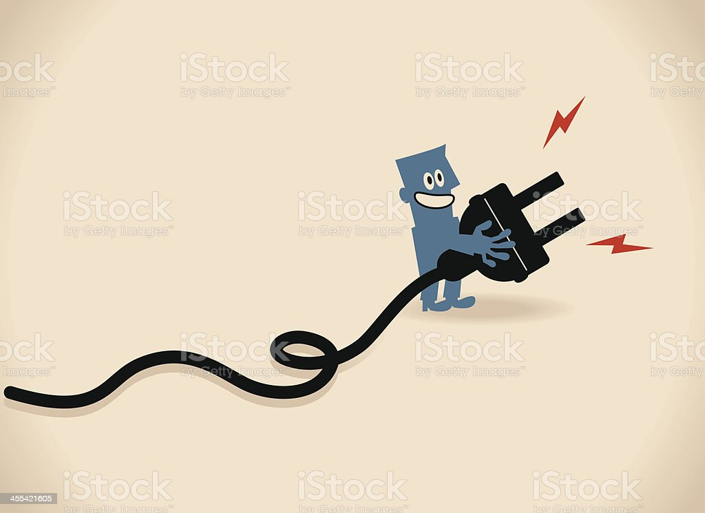 One smiling business people (businessman) showing a large electric plug vector art illustration