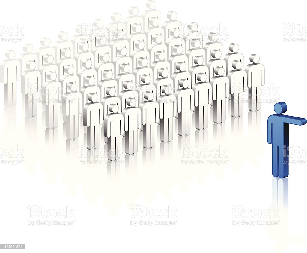 One stands out of a group vector art illustration