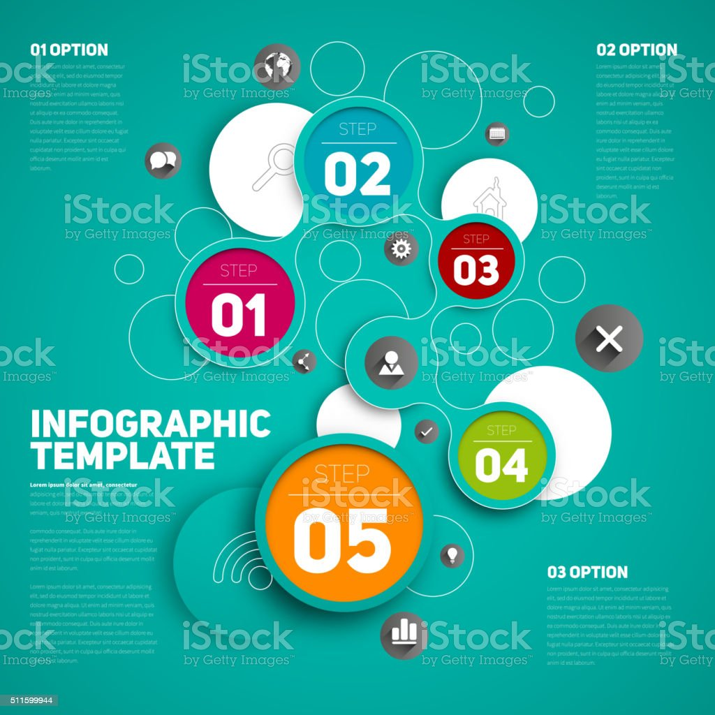 One two three four five, Circle shape vector icons vector art illustration