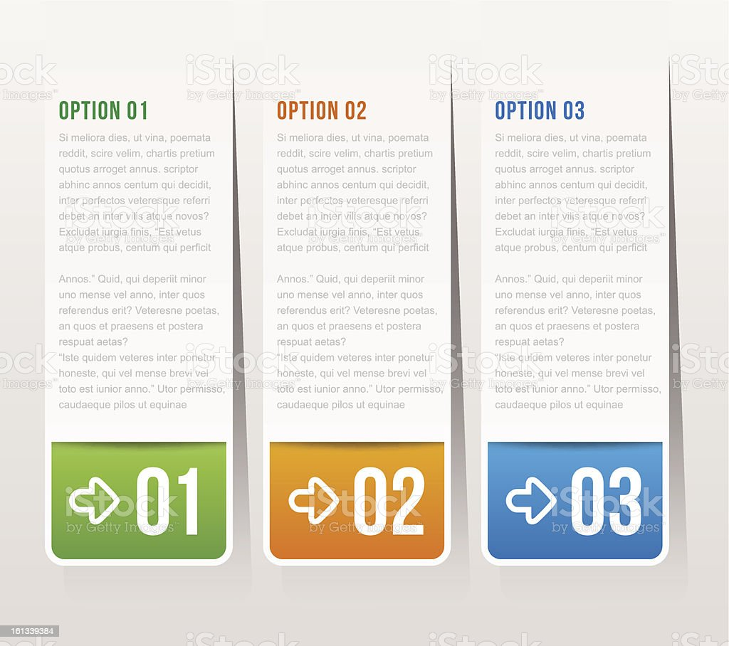 one, two, three options - Vector graphic design royalty-free stock vector art