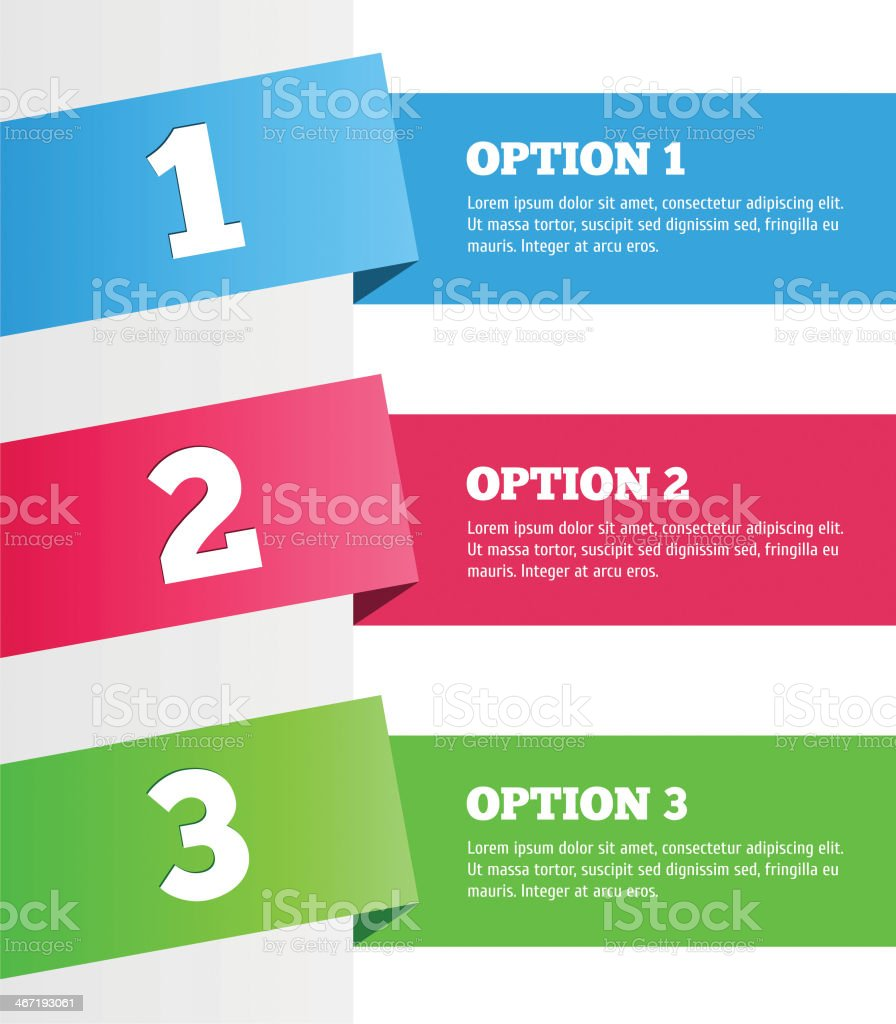 One two three - vector progress steps vector art illustration