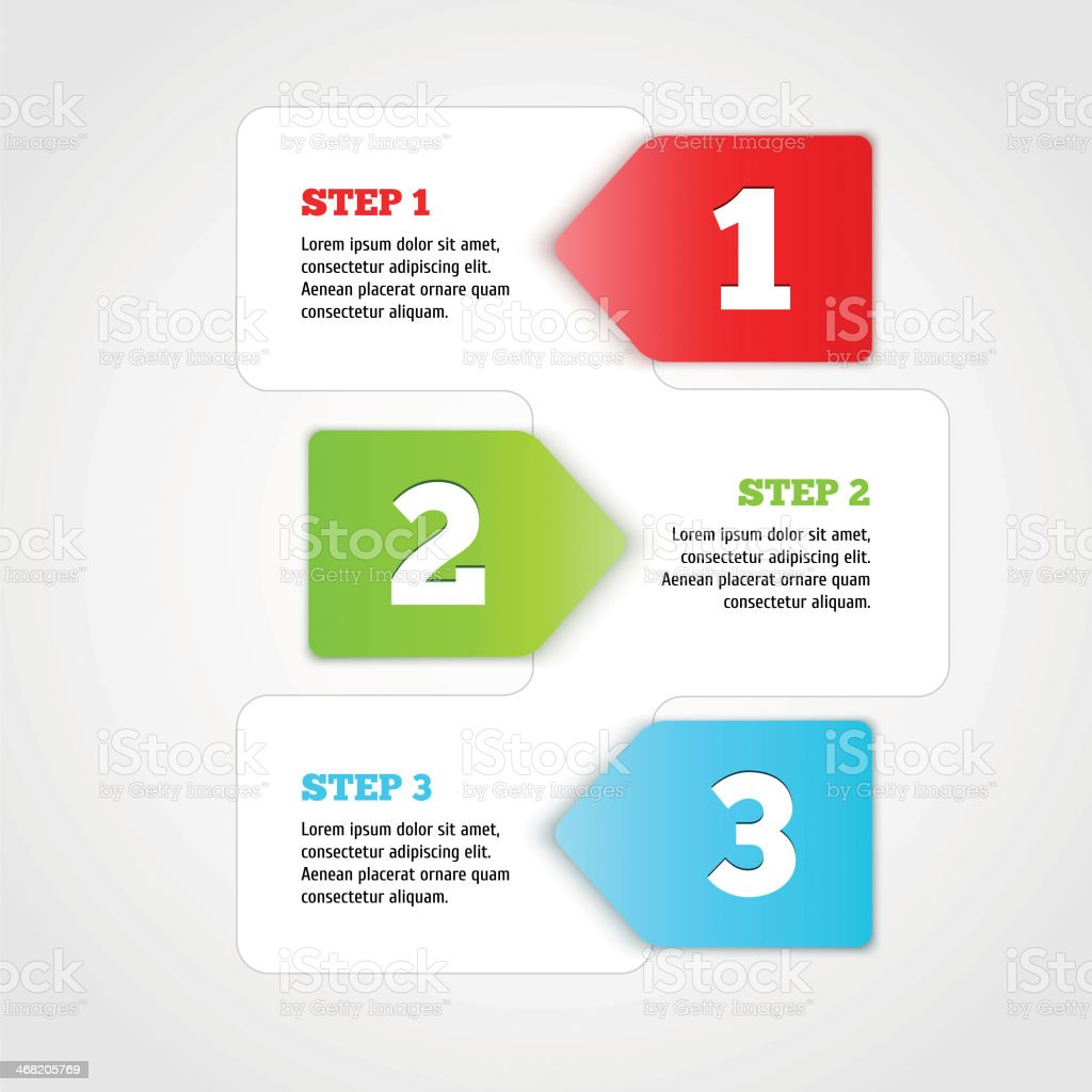 One two three - vector progress steps. vector art illustration