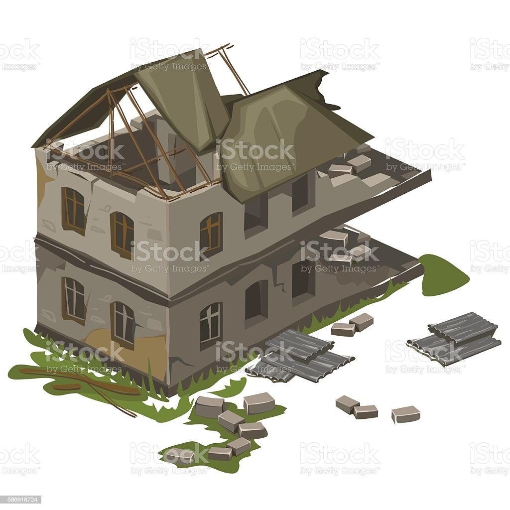 One two-storey destroyed building, vector isolated vector art illustration