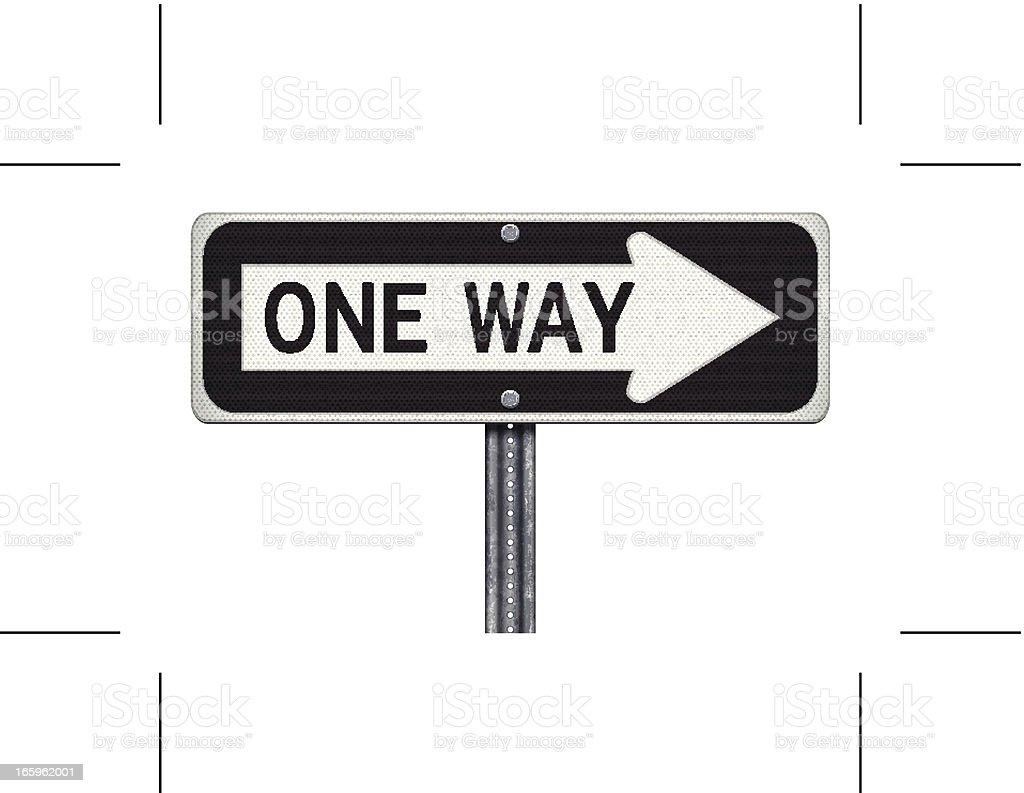 one way road sign vector art illustration
