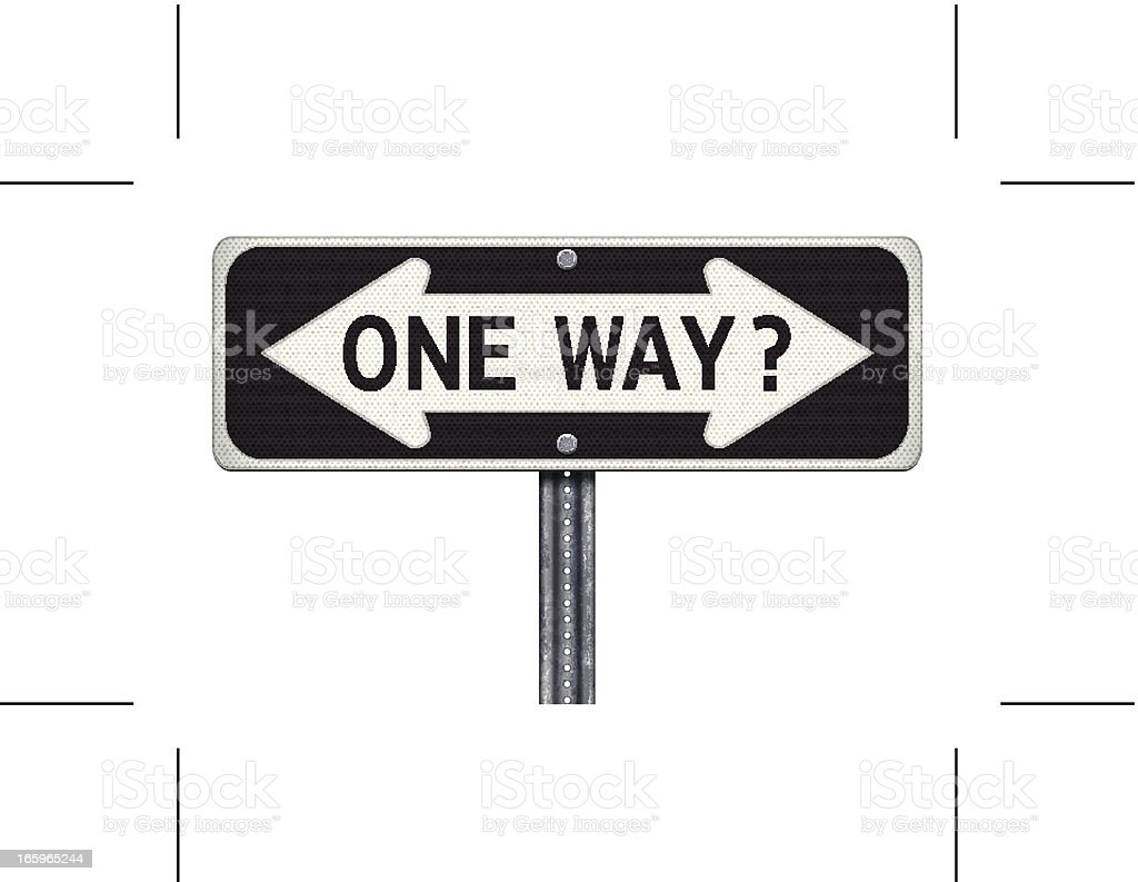 one way road sign with question mark vector art illustration
