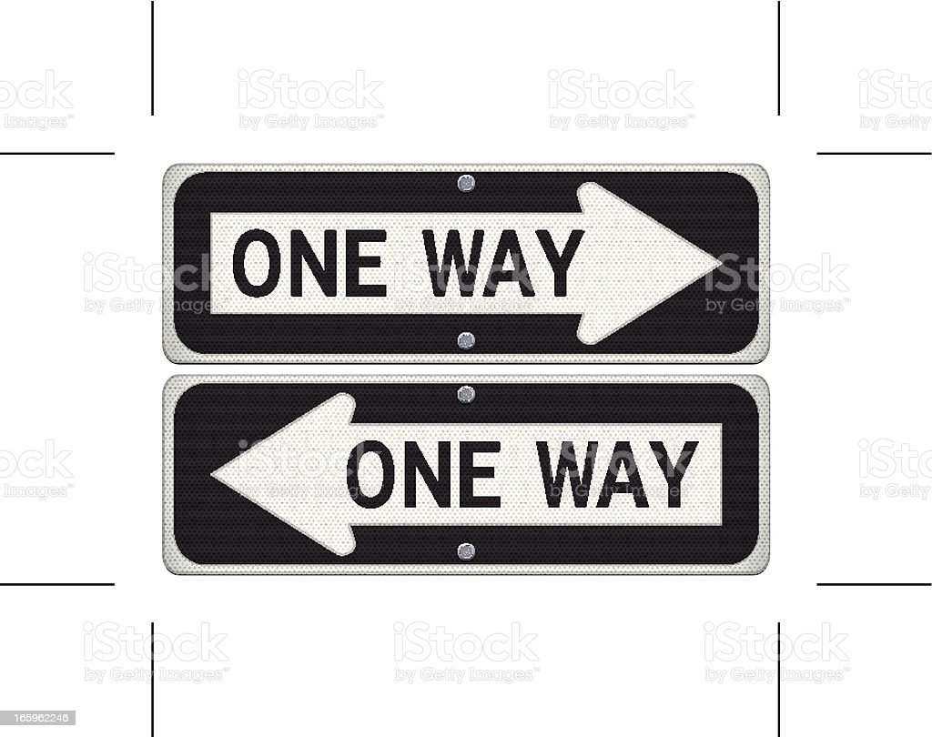 one way road signs (right and left) vector art illustration