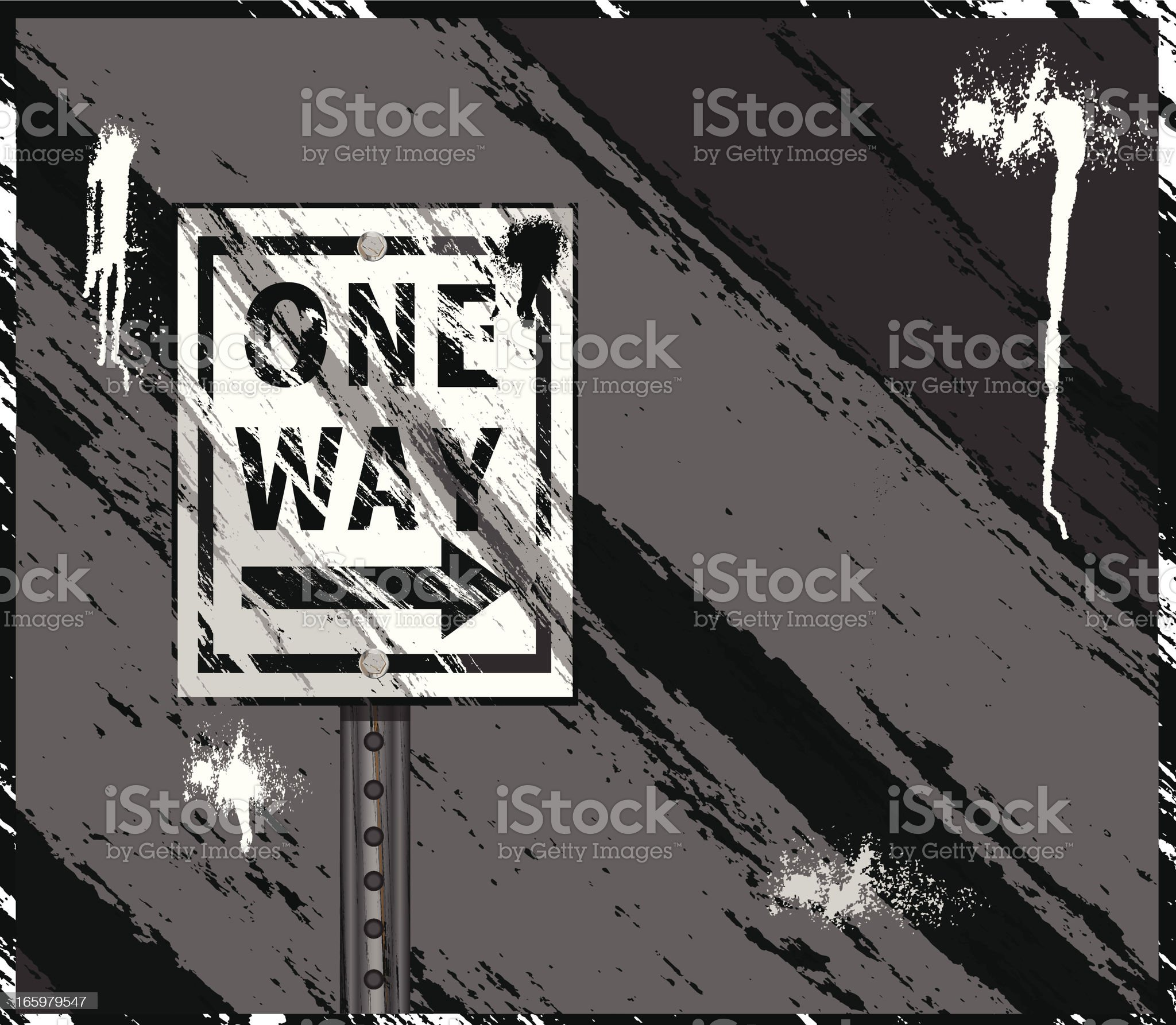 One Way Sign Background royalty-free stock vector art