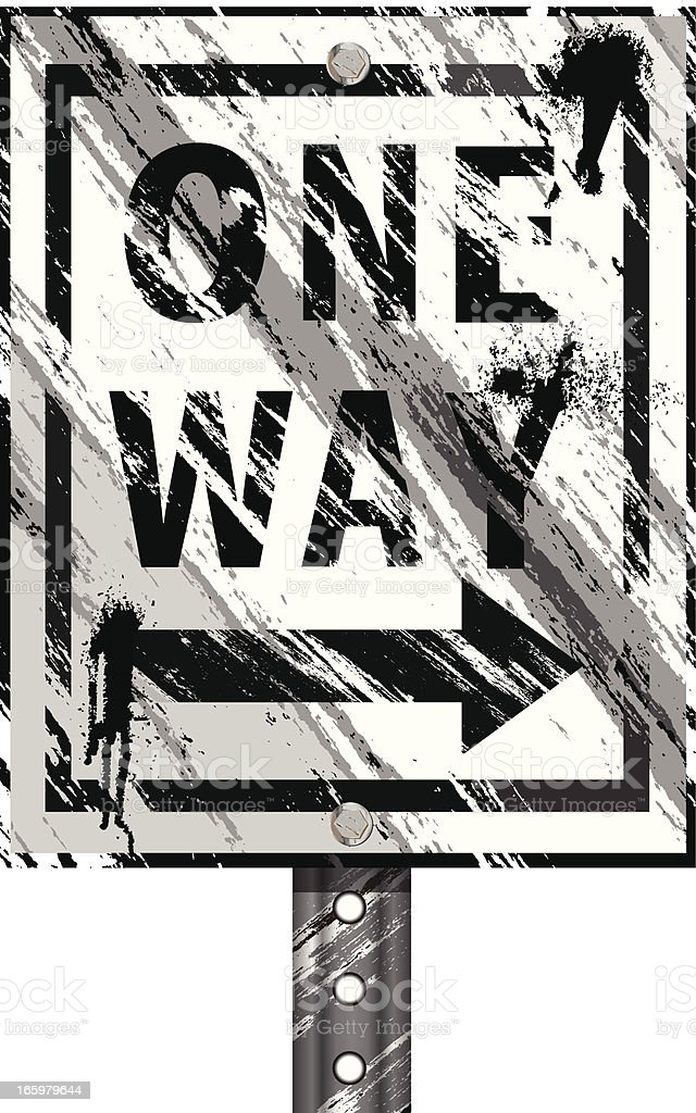 One Way Sign | Grunge vector art illustration