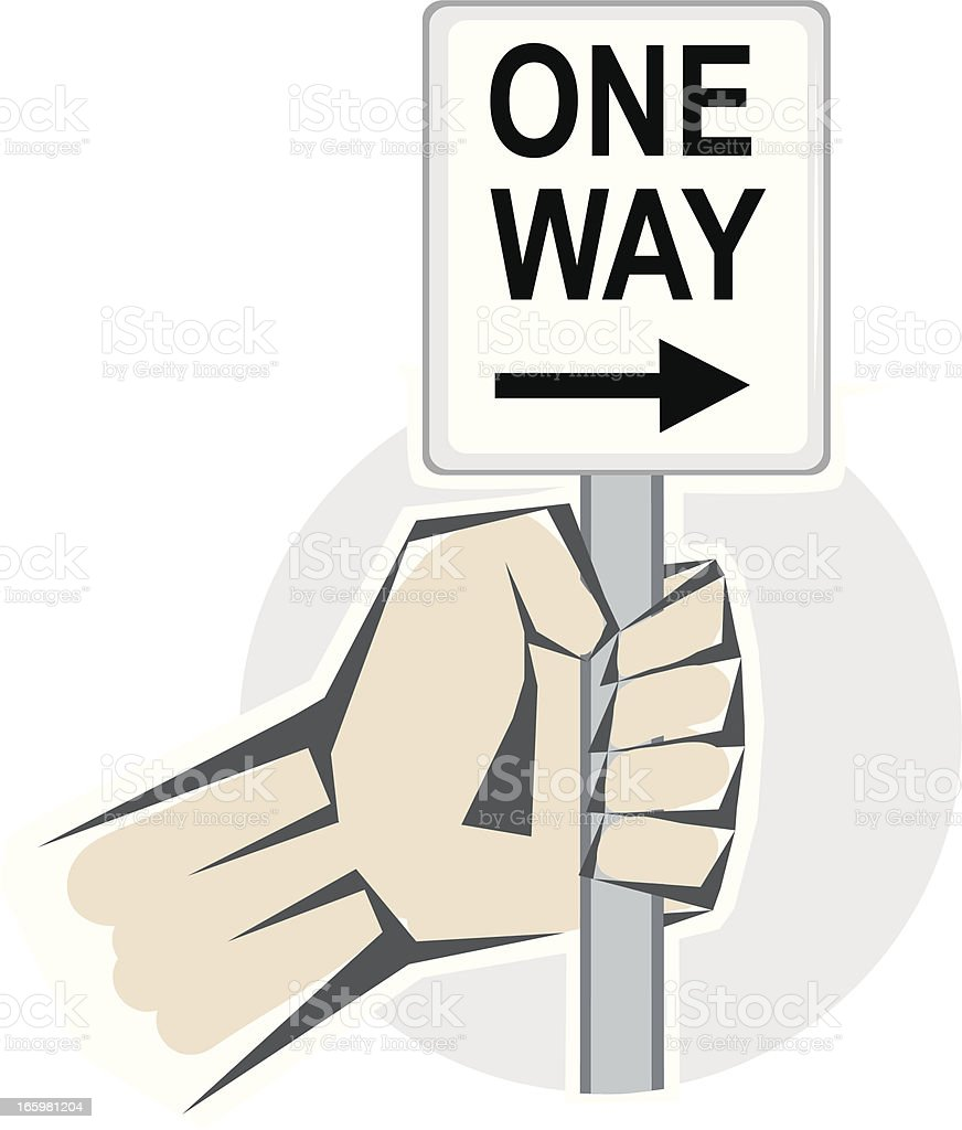 One Way Sign royalty-free stock vector art