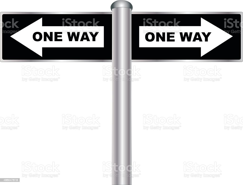 One Way Sign vector art illustration