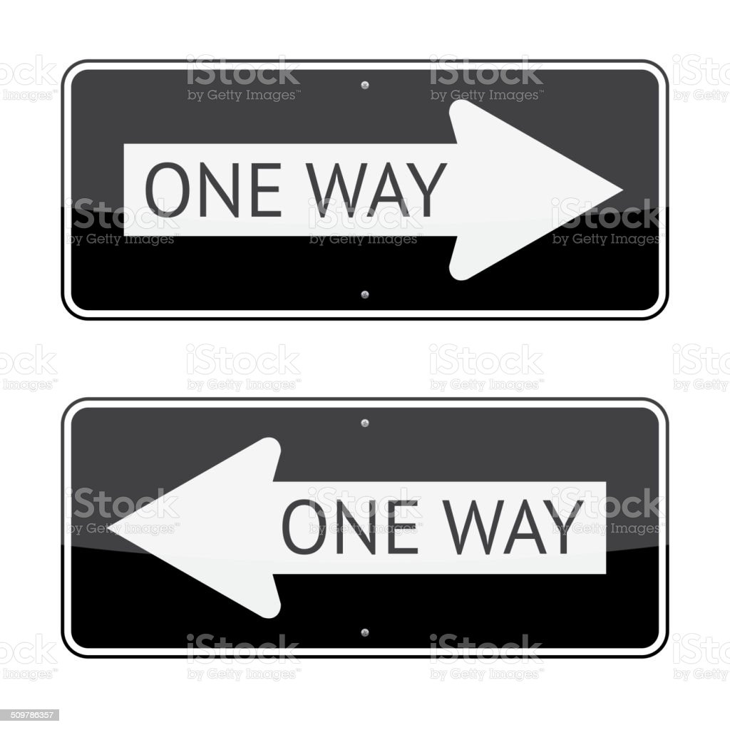 One Way Sign vector art illustration
