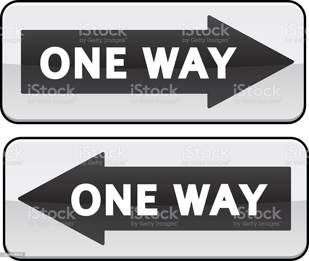 One Way traffic sign vector art illustration