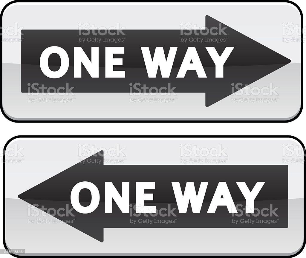One Way traffic sign vector art illustration