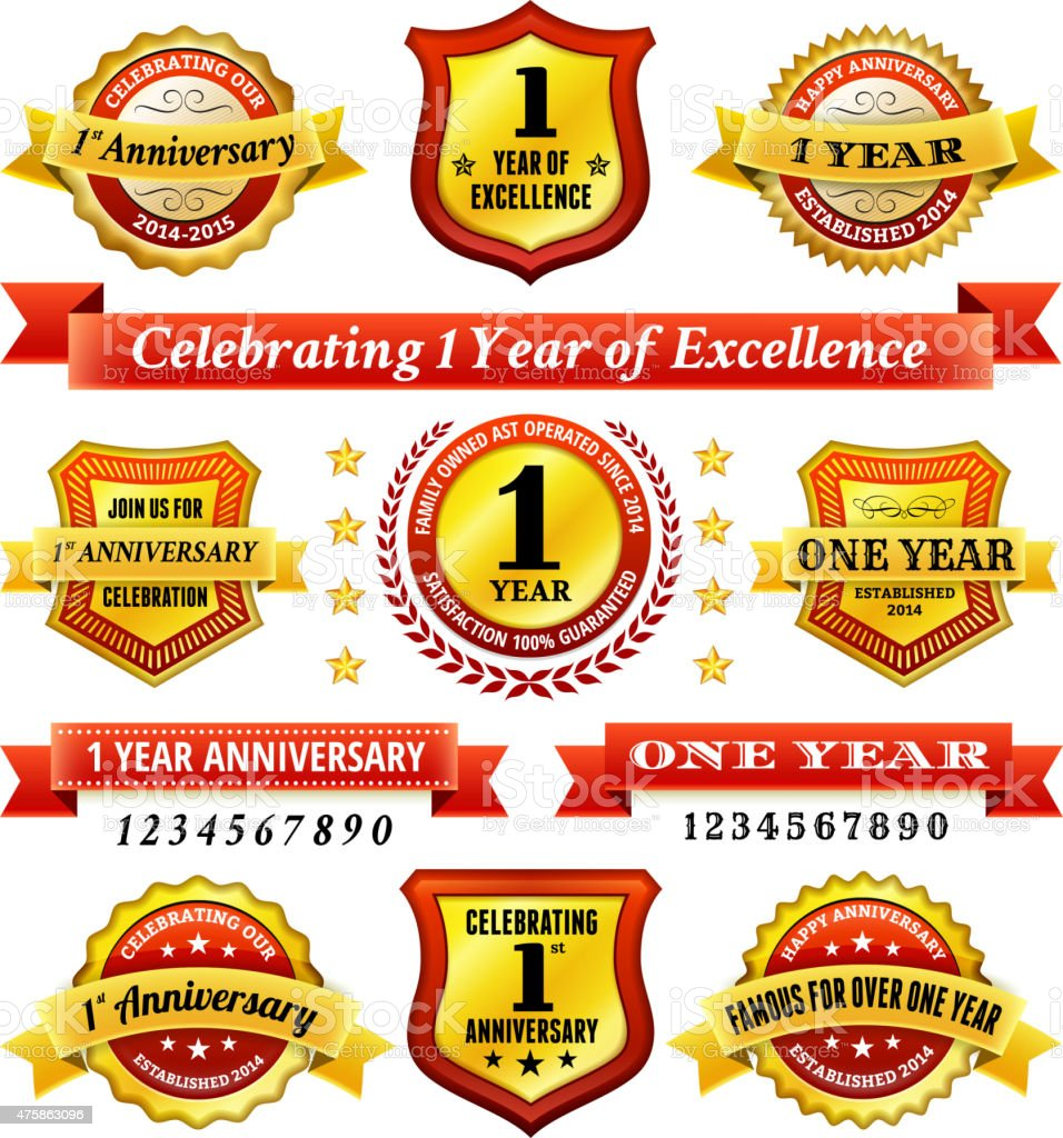 one year anniversary royalty free vector background with golden badges vector art illustration
