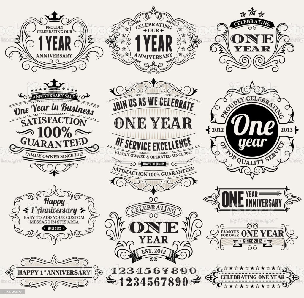 one year hand-drawn royalty free vector background on paper vector art illustration