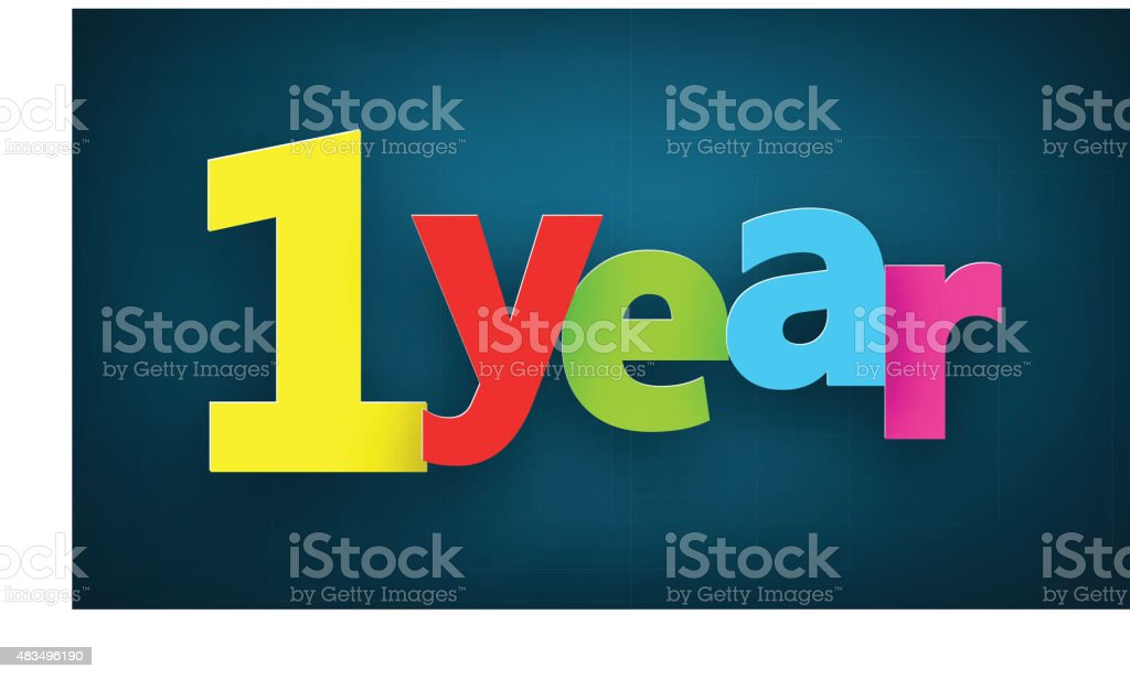 one year paper sign vector art illustration