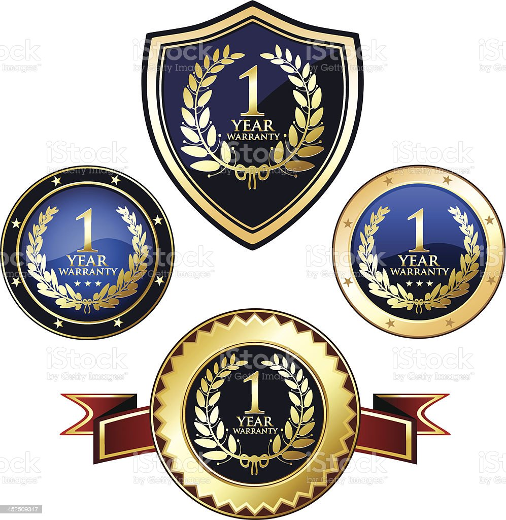 One Year Warranty Badges royalty-free stock vector art