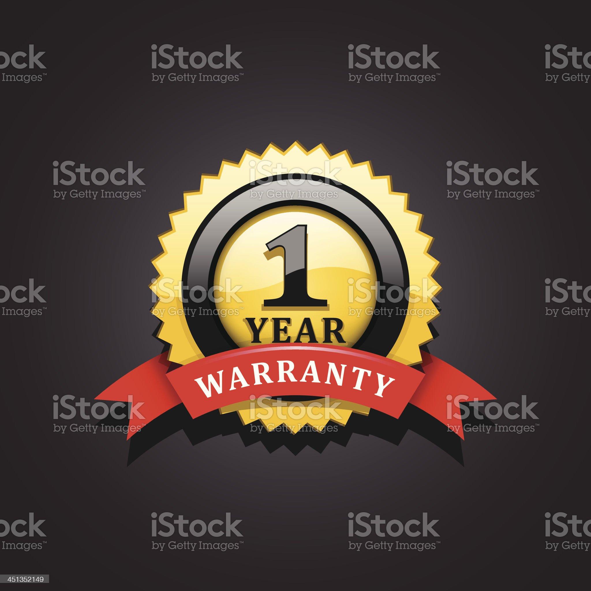 One year warranty emblem royalty-free stock vector art