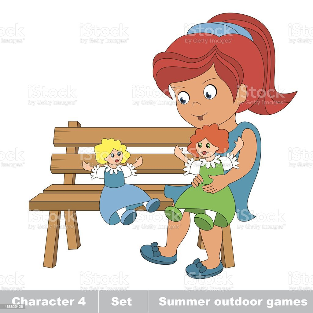 One young red hair girl in blue dress play with vector art illustration