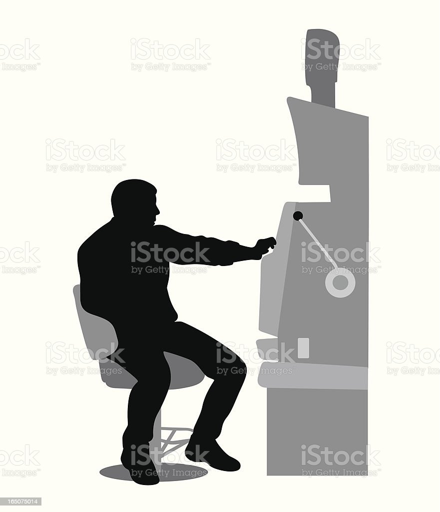 One-Armed Bandit Vector Silhouette royalty-free stock vector art