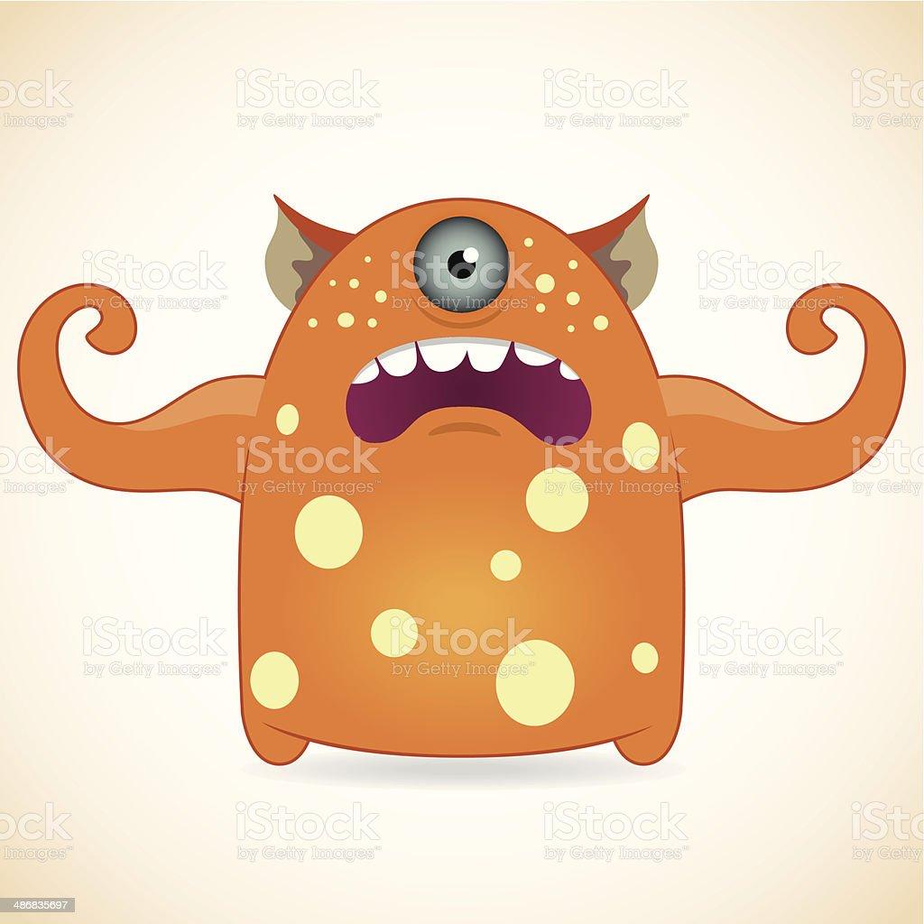 One-eyed orange monster vector art illustration
