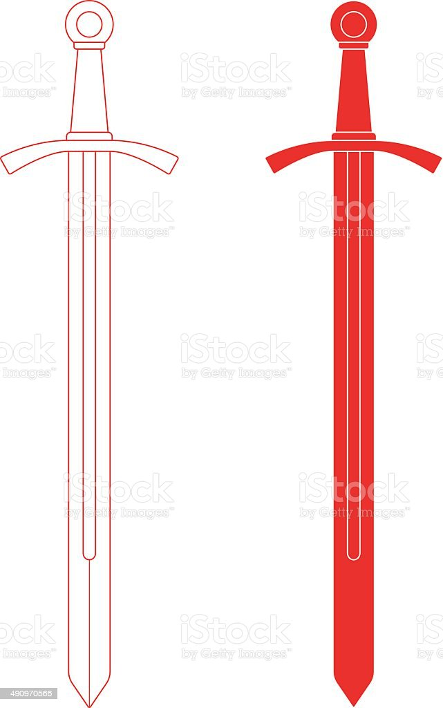 One-handed medieval knight sword. Contour, black vector art illustration