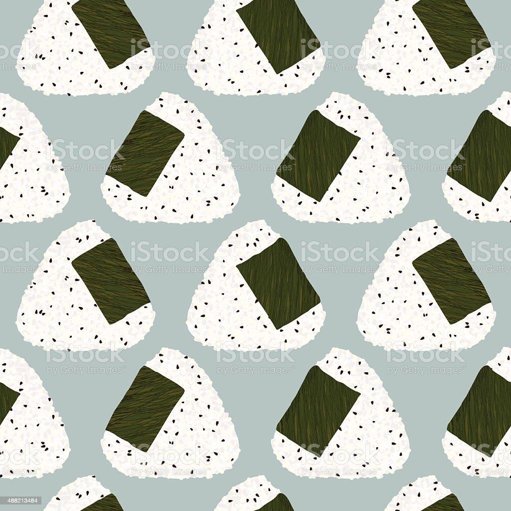 Onigiri (japanese rice ball) with sesame seeds. Seamless pattern. vector art illustration
