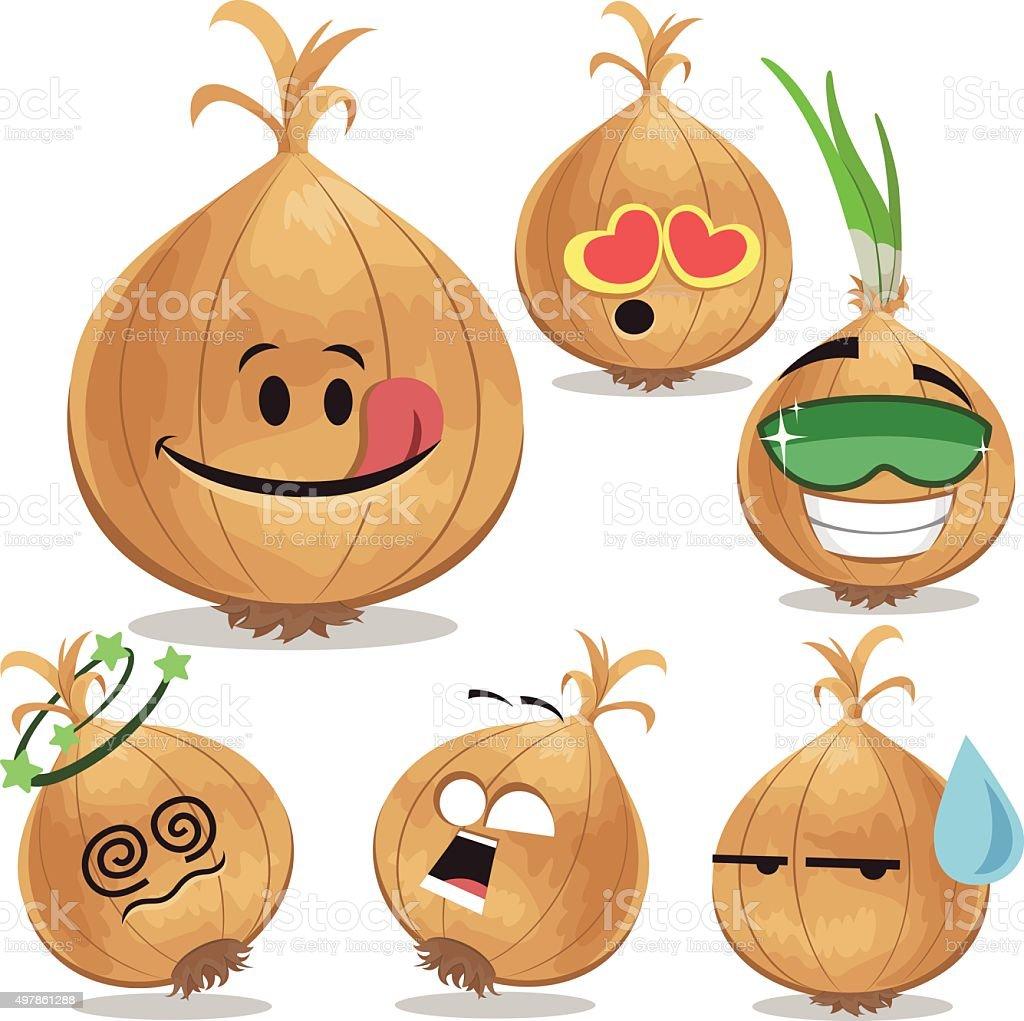 Onion Cartoon Set A vector art illustration