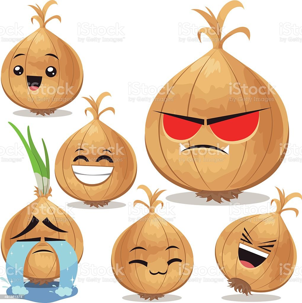 Onion Cartoon Set B vector art illustration