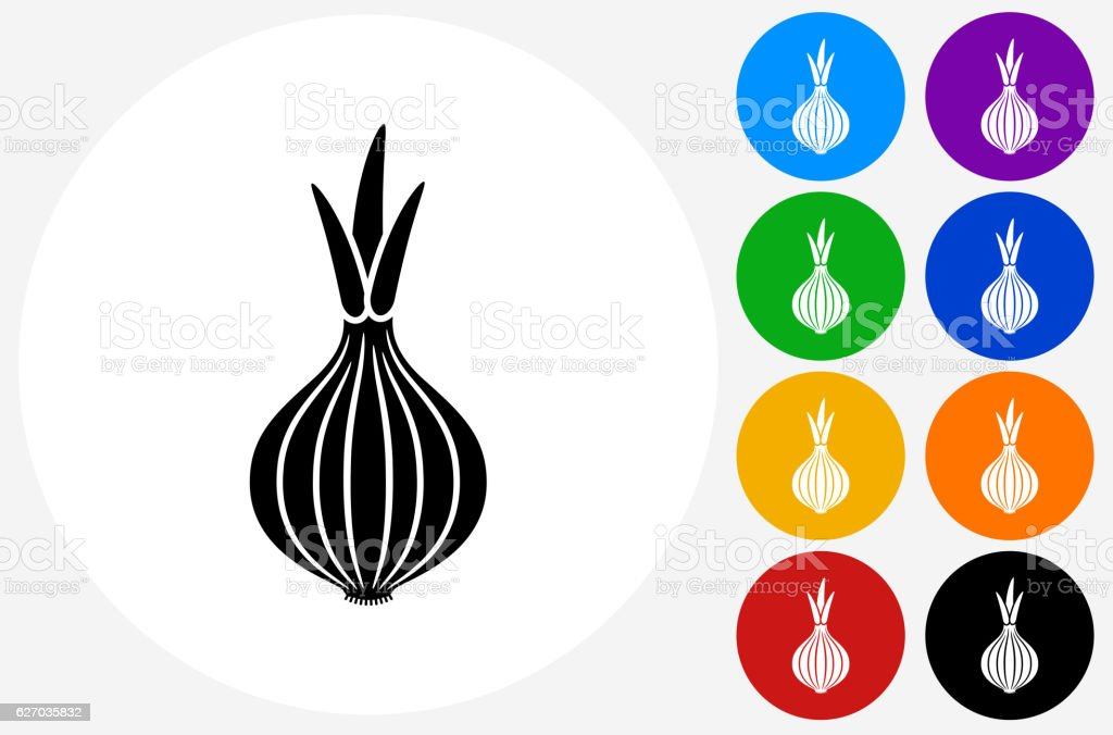 Onion Icon on Flat Color Circle Buttons vector art illustration
