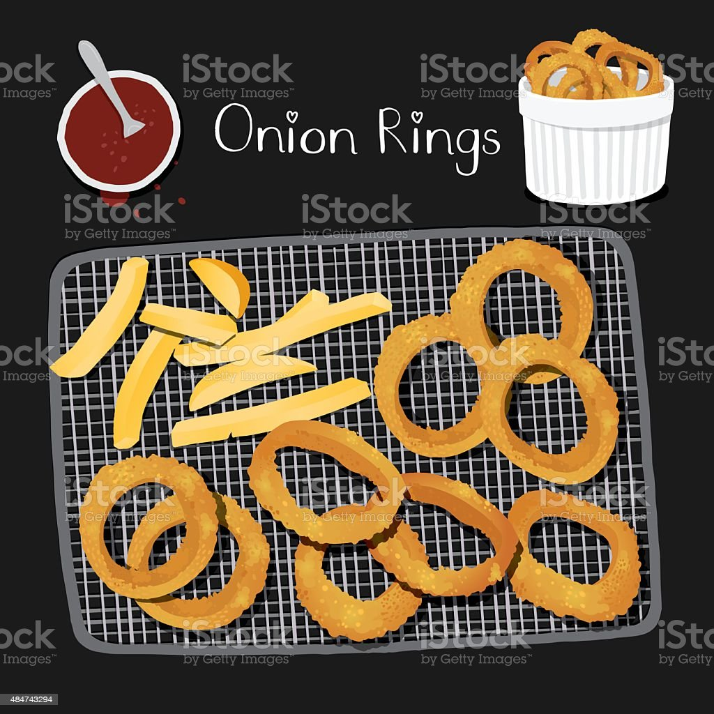Onion rings and chips from top view. vector art illustration