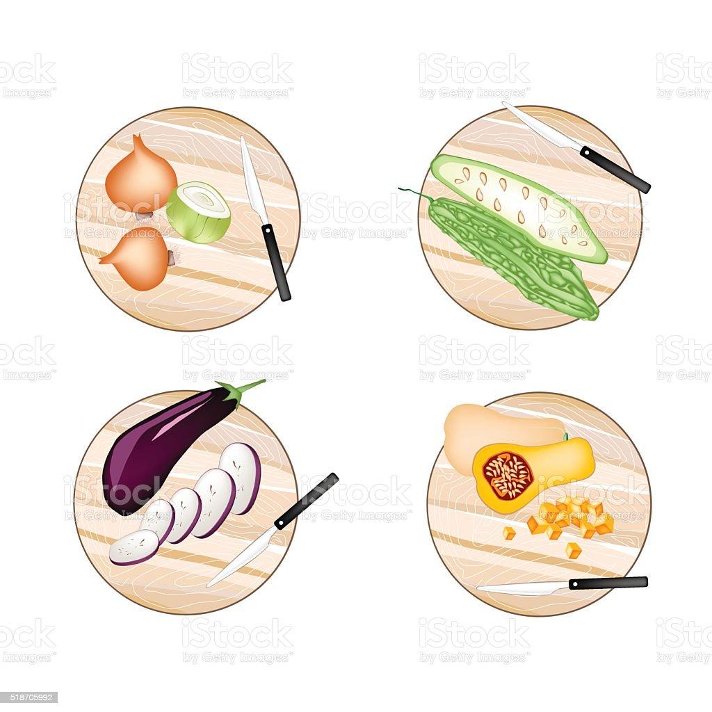 Onions, Bitter Squash, Eggplant and Butternut Squash vector art illustration