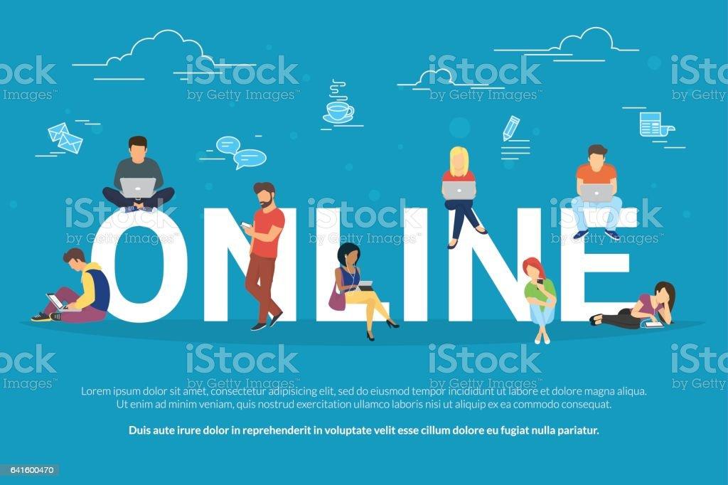 Online addiction concept illustration vector art illustration