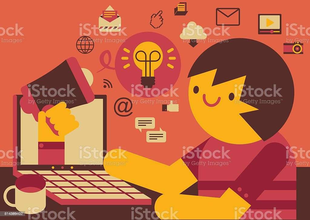 Online Advertising vector art illustration