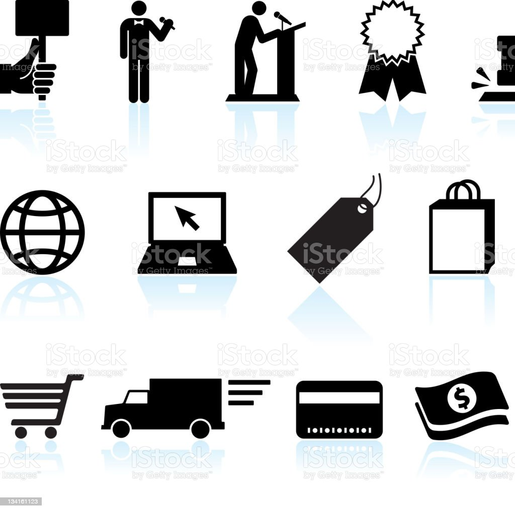 Online auction and e-commerce black & white vector icon set stock photo