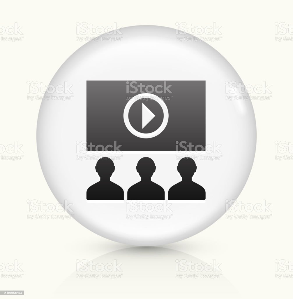 Online Audience icon on white round vector button vector art illustration