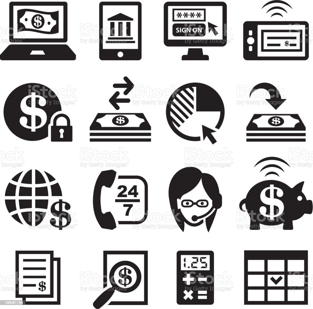Online banking and finances black & white vector icon set royalty-free stock vector art